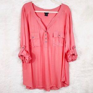 Torrid coral georgette half button blouse size 2X